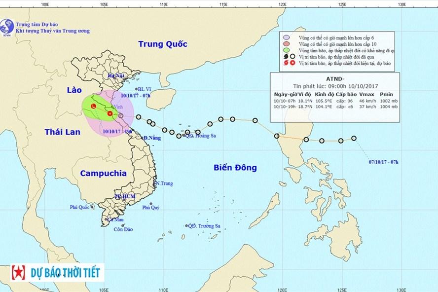 Sau khi vào miền Trung, áp thấp nhiệt đới đã sang Lào và suy yếu thành vùng áp thấp tại khu vực Thượng Lào. Ảnh: NCHMF