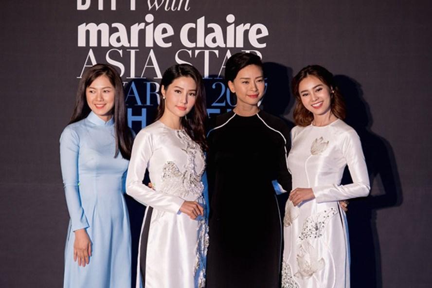 """Ninh Dương Lan Ngọc (bìa phải) và dàn diễn viên """"Cô Ba Sài Gòn"""" diện áo dài trong đêm trao giải."""