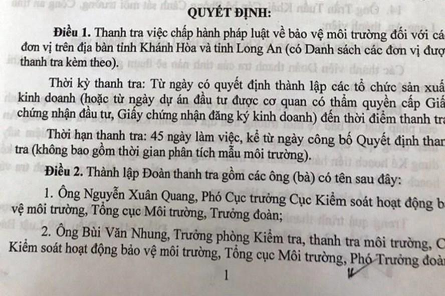 Quyết định, trong đó có  việc lập đoàn thanh tra tại Long An do ông Nguyễn Xuân Quang làm trưởng đoàn. Ảnh: PV