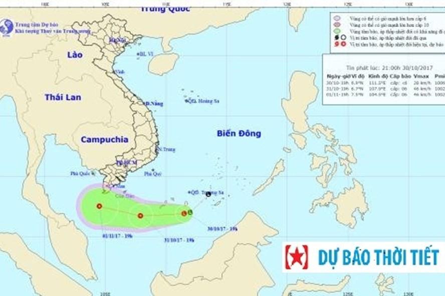 Vị trí và hướng đi của áp thấp nhiệt đới. Ảnh: NCHMF