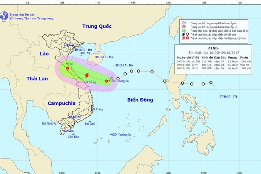 Vị trí và hướng đi của áp thấp nhiệt đới. Ảnh: Theo NCHMF