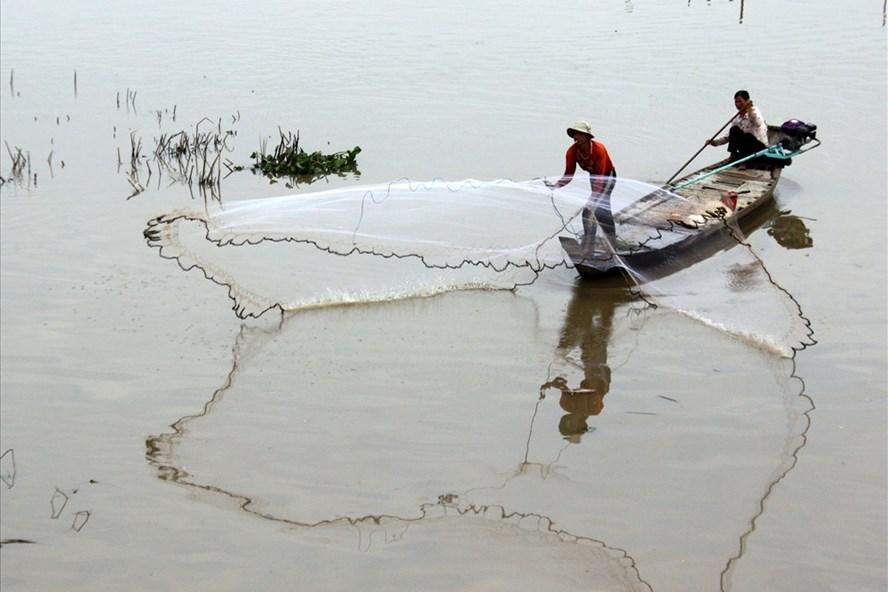 Nước lũ tràn đồng, người dân chèo xuồng bắt cá trên sông