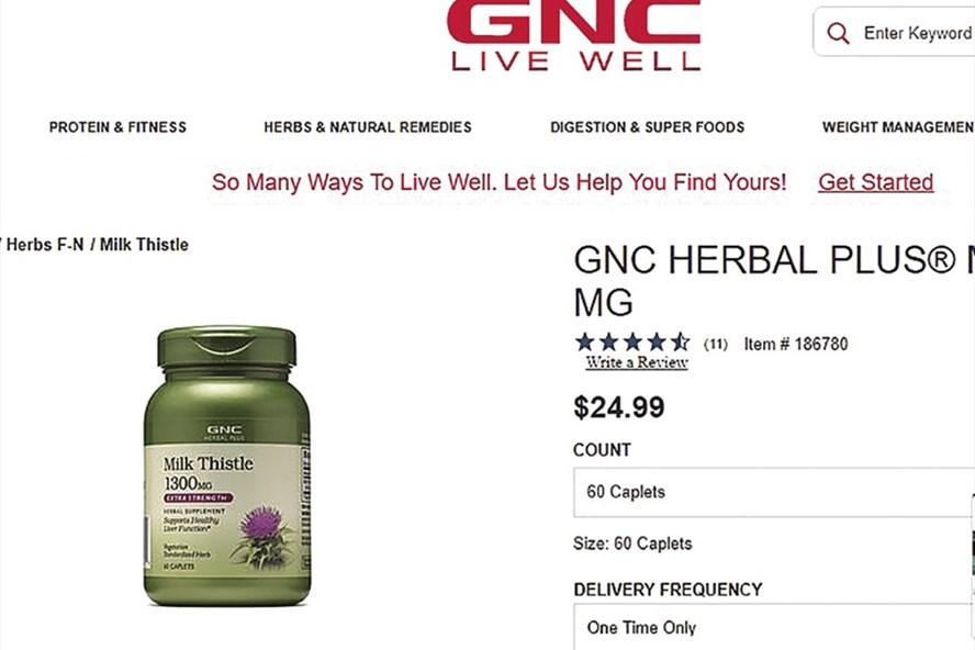 Giá lọ Milk Thistle 1.300mg trên website GNC Mỹ khoảng 25USD (chụp màn hình).