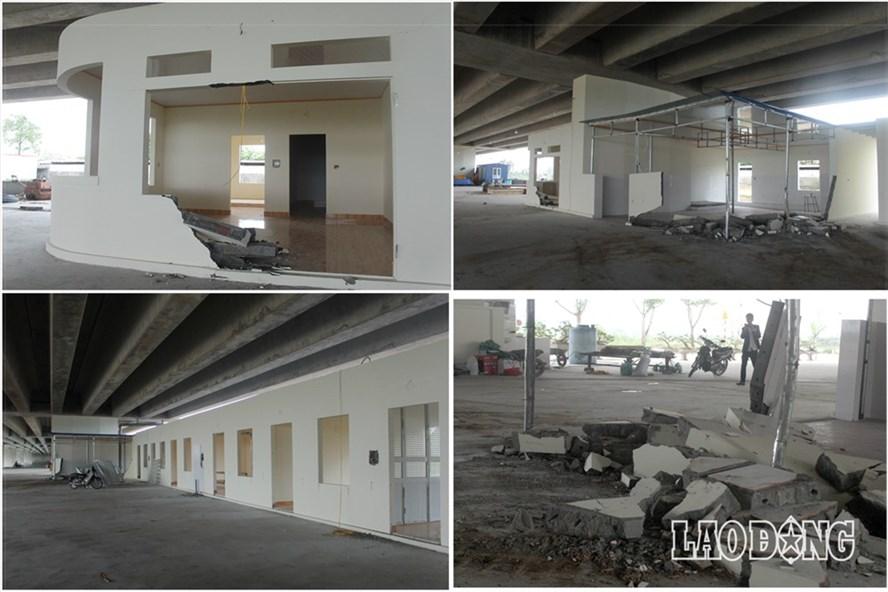 Những hình ảnh tháo dỡ công trình vi phạm dưới gầm cầu Đa Độ, Hải Phòng. Ảnh Trần Vương