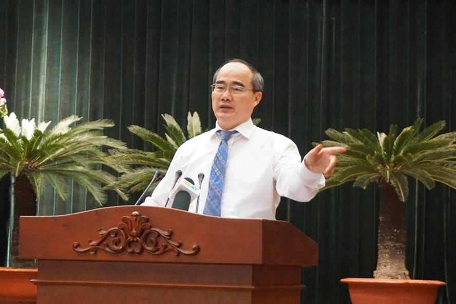 Bí thư Thành ủy TPHCM Nguyễn Thiện Nhân phát biểu bế mạc Hội nghị.     Ảnh: M.Q