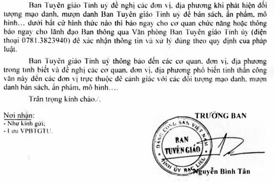 Công văn của Ban tuyên giáo Tỉnh ủy Bạc Liêu khẳng định cơ quan này không giới thiệu cho các tổ chức, cá nhân đi bán sách