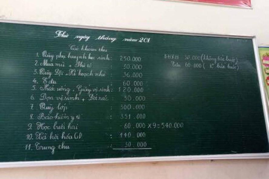 Các khoản đóng góp của trường tiểu học Ít Ong A (huyện Mường La). Ảnh: PHCC.