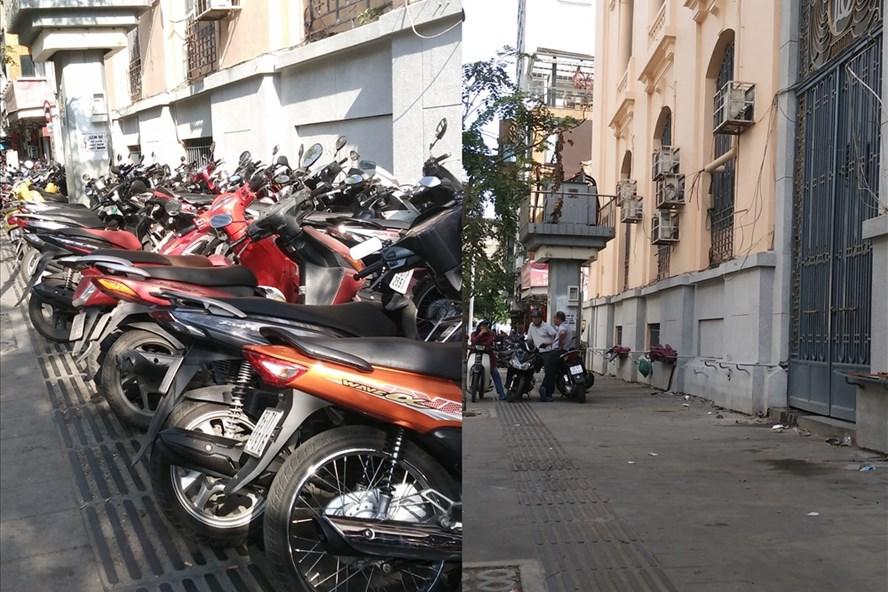 Bãi giữ xe máy trên vỉa hè đường Hải Triều (do UBND phường Bến Nghé, quận 1 quản lý) đã dừng hoạt động, trả lại vỉa hè thông thoáng.  Ảnh: M.Q
