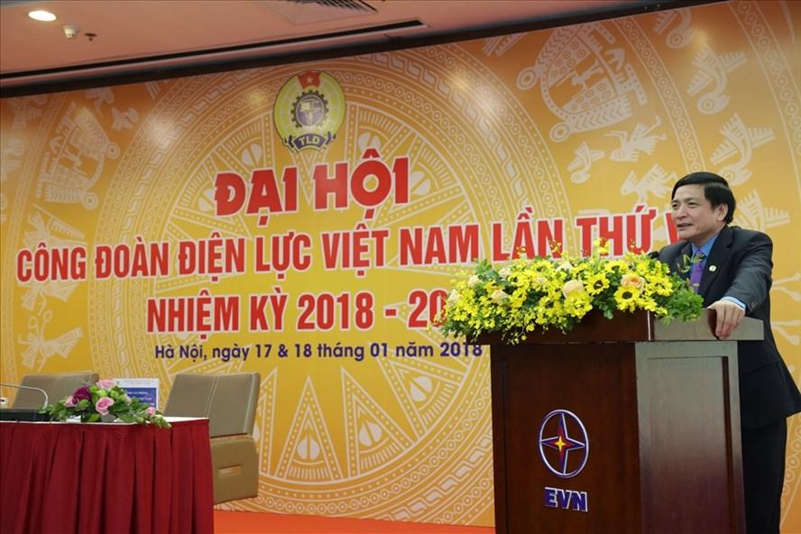 Chủ tịch Tổng LĐLĐVN Bùi Văn Cường phát biểu tại Đại hội Công đoàn Điện lực Việt Nam lần thứ V. Ảnh: N.L