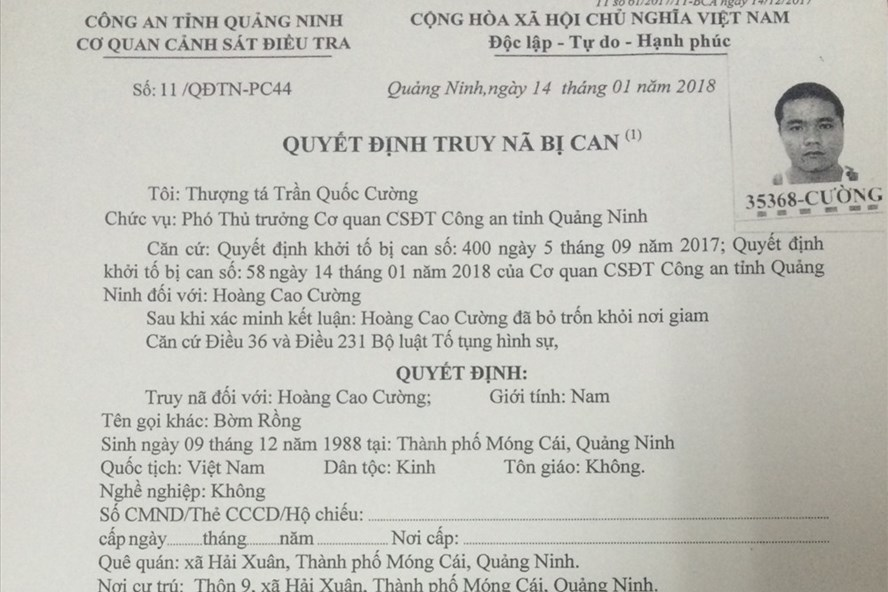 Một trong hai đối tượng bị Công an Quảng Ninh phát lệnh truy nã. Ảnh: CAQN