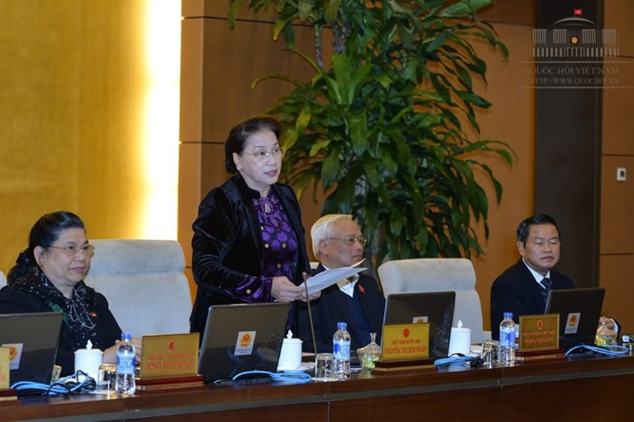 Chủ tịch Quốc hội Nguyễn Thị Kim Ngân phát biểu tại phiên họp thứ 19 của Ủy ban TVQH (Ảnh: QH)