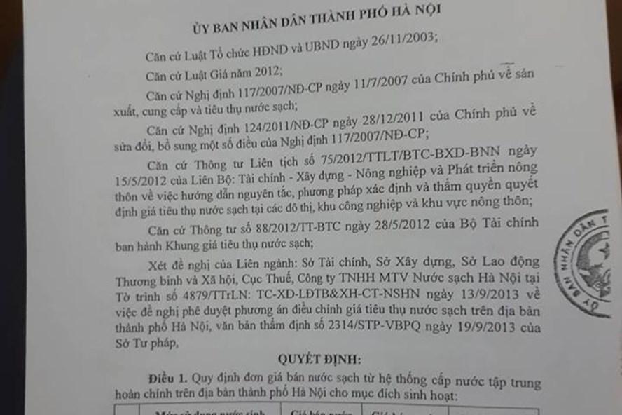 Giá bán nước sinh hoạt theo quy định TP.Hà Nội.