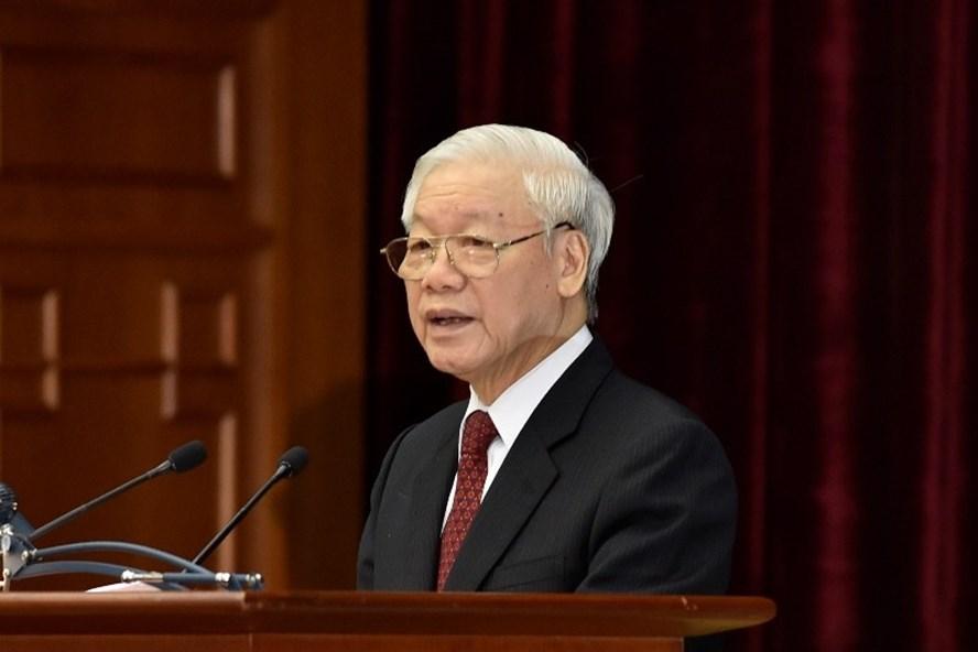Tổng Bí thư Nguyễn Phú Trọng phát biểu bế mạc Hội nghị Trung ương 8 khóa XII (Ảnh: N.Bắc)