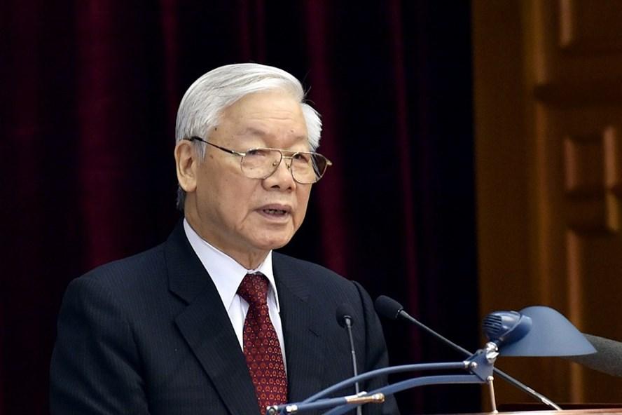 Tổng Bí thư Nguyễn Phú Trọng phát biểu tại Hội nghị Trung ương 8 khóa XII (Ảnh: Nhật Bắc)