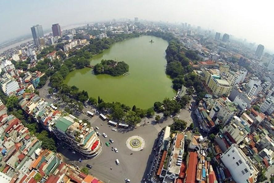 Khu vực nội đô Hà Nội (tính từ đuòng vành đai 2 trở vào khu trung tâm), mật độ dân số rất cao. Ảnh: P. Hiếu