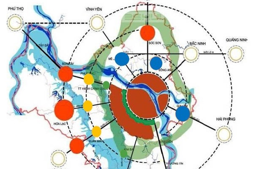 Các đô thị vệ tinh (màu cam) đang được lập đồ án quy hoạch phân khu chức năng.