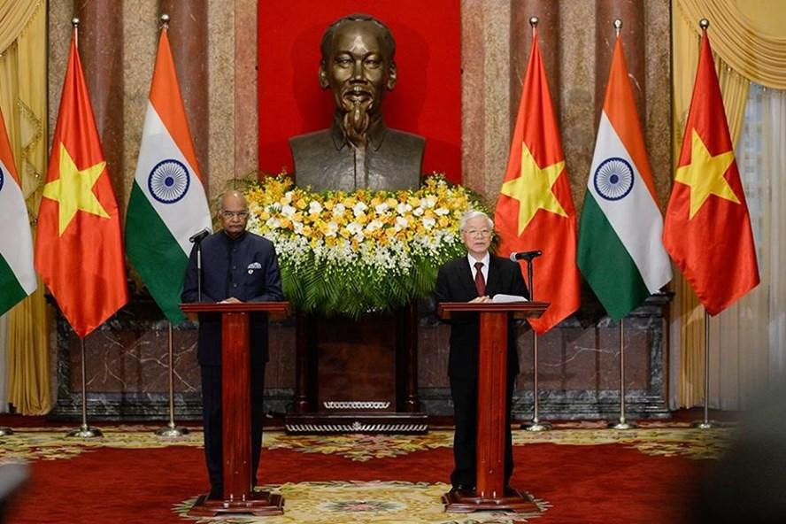 Tổng Bí thư, Chủ tịch Nước Nguyễn Phú Trọng và Tổng thống Ấn Độ Ram Nath Kovind. Ảnh: Sơn Tùng.