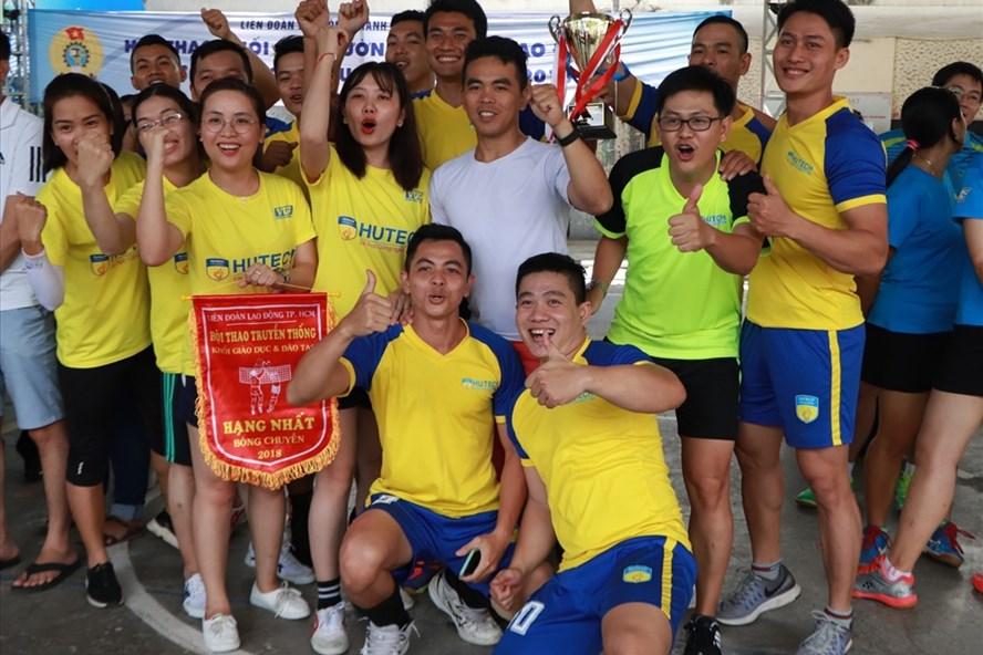 Vận động viên Trường Đại học Công Nghệ TPHCM xuất sắc đạt 2 giải nhất của hội thao. Ảnh: MP