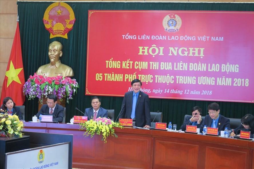 Chủ tịch TLĐ phát biểu chỉ đạo tại Hội nghị chiều 14.12
