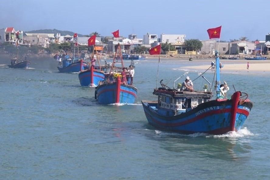 Tàu cá của ngư dân Sa Huỳnh nối đuôi vươn khơi. Ảnh: LĐ