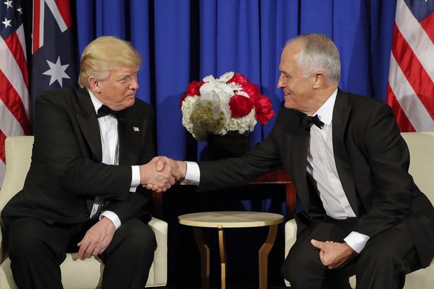 Thủ tướng Australia Malcolm Turnbull và Tổng thống Mỹ Donald Trump có thể sẽ thảo luận kế hoạch đối trọng Sáng kiến Vành đai và Con đường của Trung Quốc khi hai nhà lãnh đạo gặp nhau ở Washington cuối tuần này. Ảnh: AP
