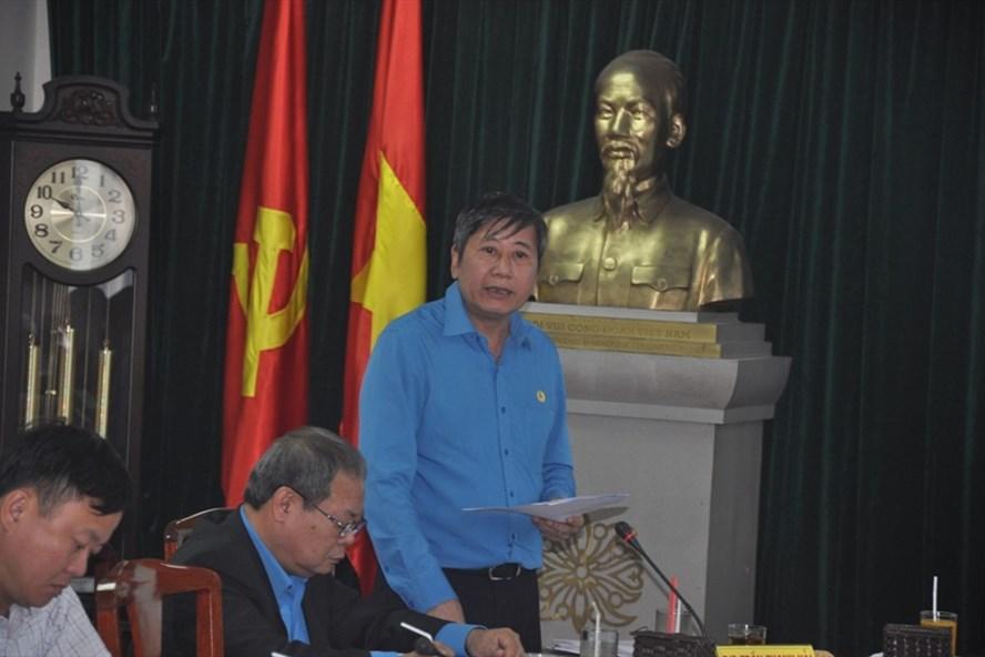 Đồng chí Trần Thanh Hải - Phó Chủ tịch Thường trực Tổng LĐLĐVN phát biểu tại Hội nghị.