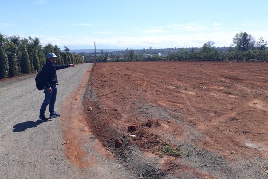 Khu đất nông nghiệp tại xã Chư Á (TP.Pleiku) do Cty Hưng Gia Khang đứng ra rao bán. Ảnh Đình Văn.