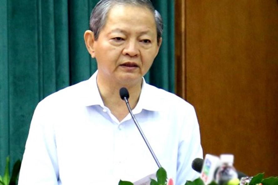 Ông Lê Văn Khoa phát biểu trước khi từ nhiệm. Ảnh: Trung Sơn