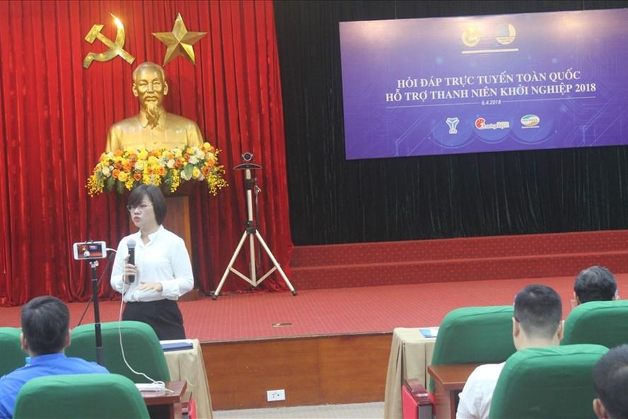 Bà Nguyễn Thị Thu Vân - Phó Chủ tịch Thường trực Trung ương Hội Liên Hiệp Thanh niên Việt Nam - chia sẻ về các chính sách hỗ trợ cho thanh niên khởi nghiệp.