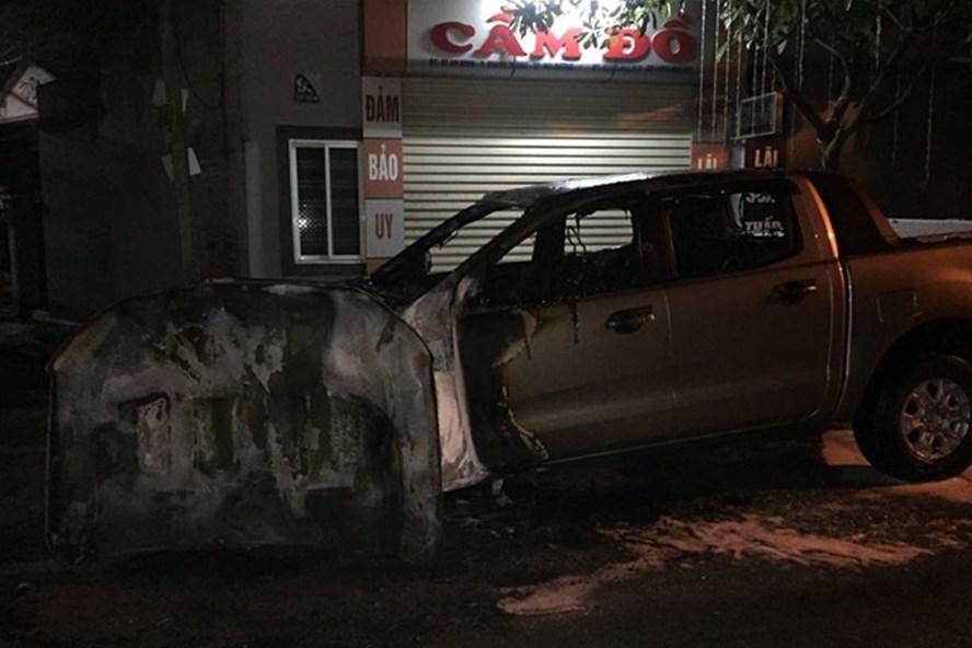 Chiếc xe tại hiện trường sau vụ cháy.