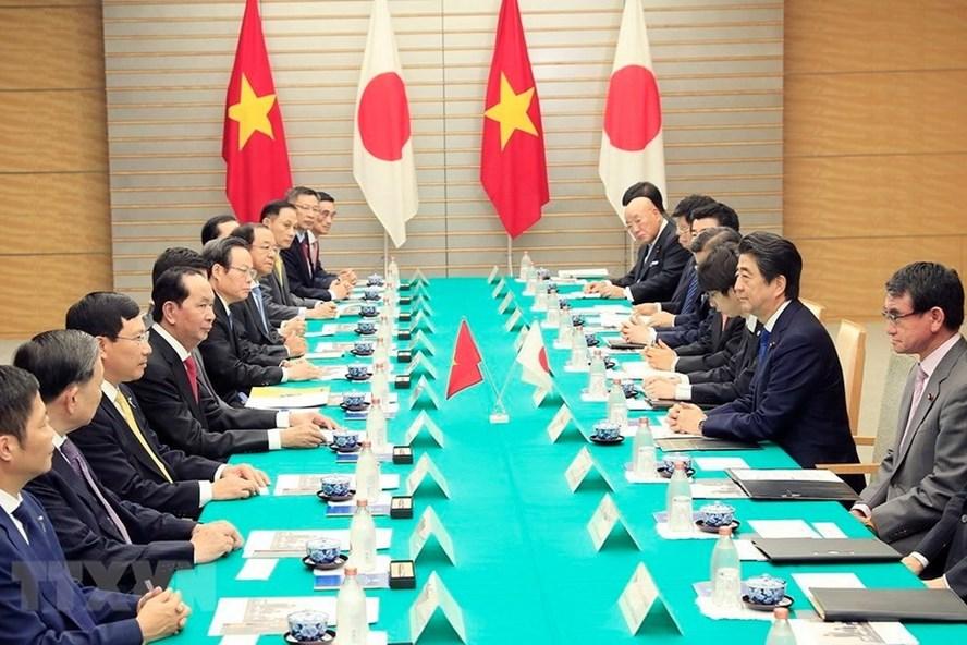 Chủ tịch Nước Trần Đại Quang và Thủ tướng Nhật Bản Shinzo Abe hội đàm ngày 31.5. Ảnh: TTXVN.