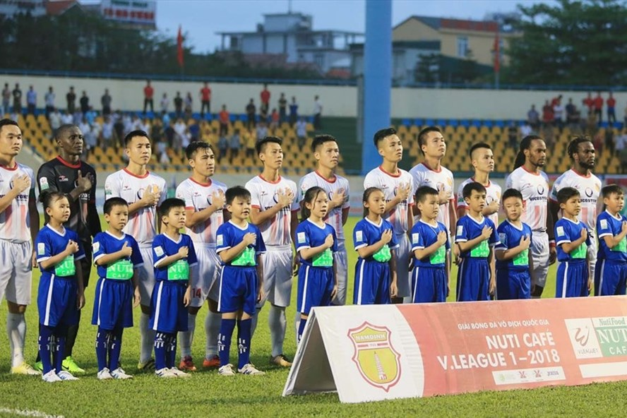 Nam Định đã có chiến thắng đầu tiên ở V.League 2018. Ảnh: VPF