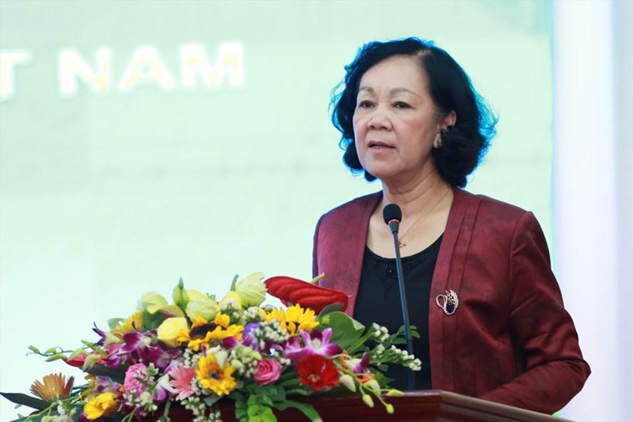 Đồng chí Trương Thị Mai, Ủy viên Bộ Chính trị, Bí thư Trung ương Đảng, Trưởng Ban Dân vận Trung ương phát biểu tại Hội nghị. Ảnh: Hải Nguyễn.