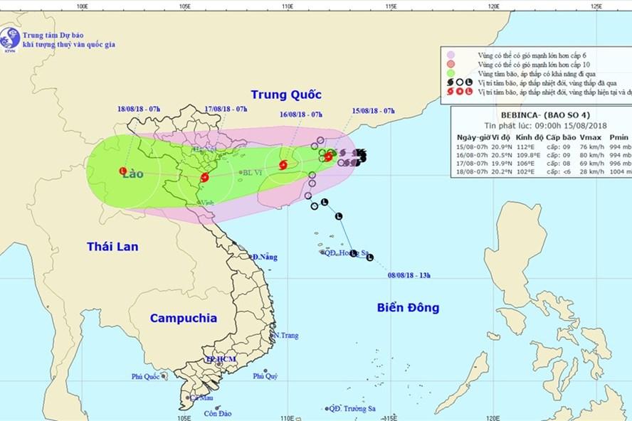 Vị trí và hướng đi của bão số 4. Ảnh: NCHMF