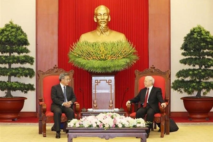 Tổng Bí thư Nguyễn Phú Trọng tiếp Phó Thủ tướng Quốc vụ viện Trung Quốc Hồ Xuân Hoa. Ảnh: TTXVN