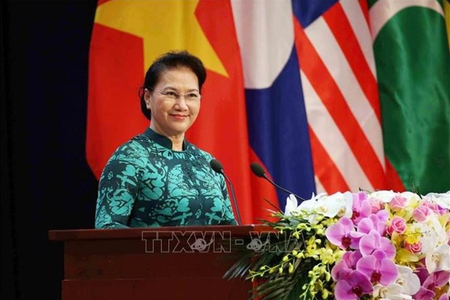 Chủ tịch Quốc hội Nguyễn Thị Kim Ngân phát biểu tại Lễ khai mạc Đại hội ASOSAI 14 sáng nay 19.9. Ảnh: TTXVN