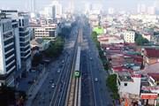 Flycam: Ngắm 5 đoàn tàu Cát Linh - Hà Đông đồng loạt khởi hành từ trên cao