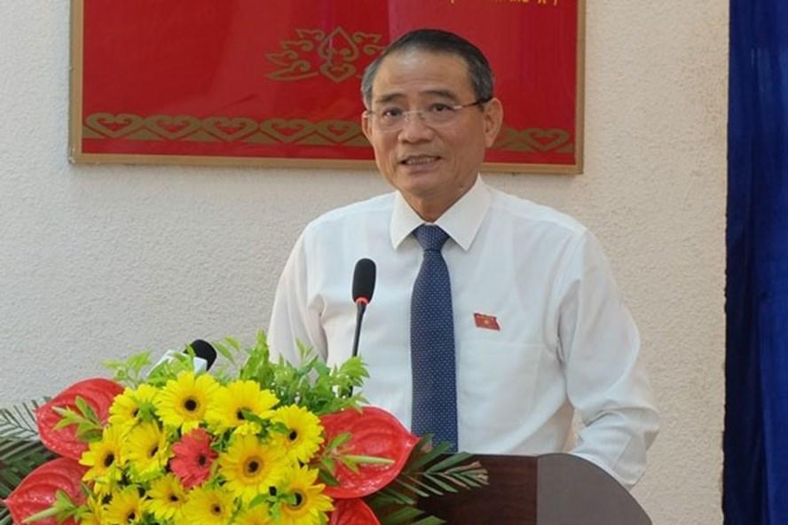 Bí thư Thành ủy Đà Nẵng Trương Quang Nghĩa tại buổi tiếp xúc cử tri quận Hải Châu chiều 25.9. (ảnh: Hoàng Vinh)
