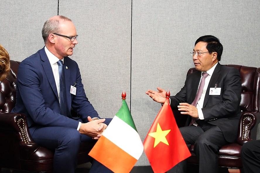 Phó Thủ tướng Phạm Bình Minh tiếp Phó Thủ tướng kiêm Bộ trưởng Ngoại giao và Thương mại Ireland Simon Conveney. Ảnh: VGP.