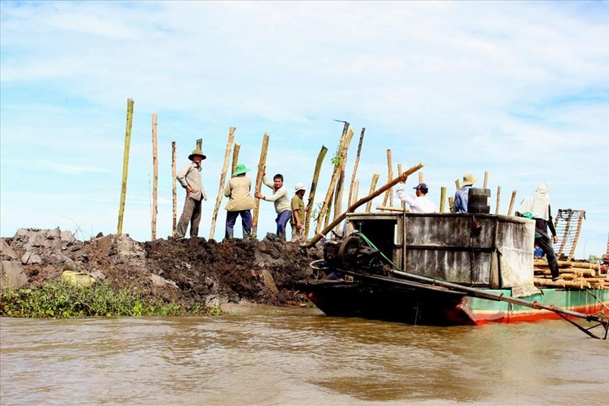 Hộ đê bảo vệ lúa ở xã Lương An Trà, huyện Tri Tôn. Ảnh: Lục Tùng