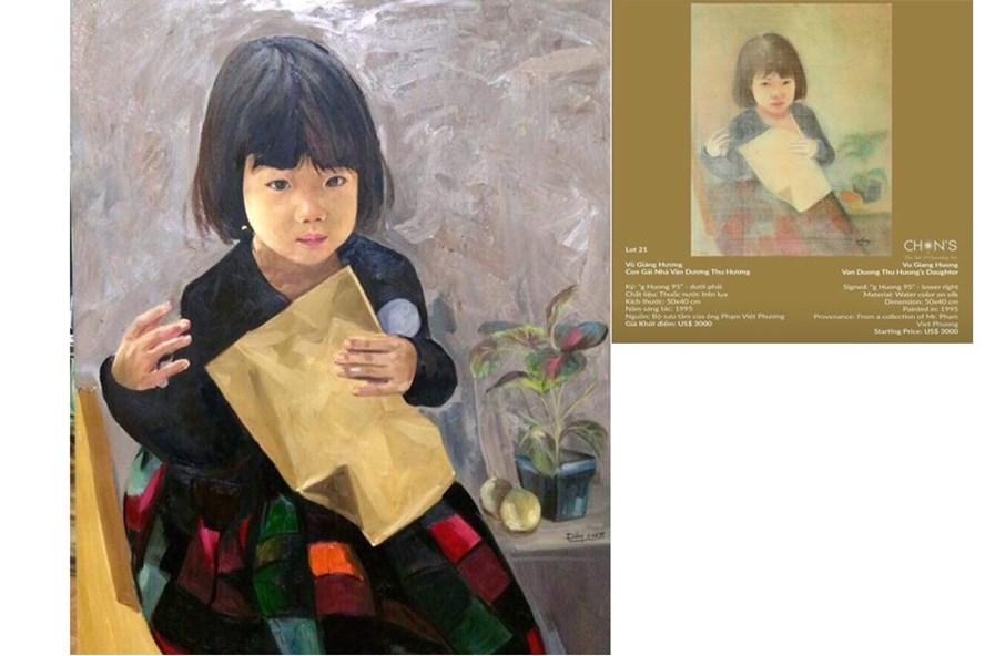 """Tranh vẽ bé Bảo Khánh họa sĩ Đông đưa lên FB cá nhân. Và bức tranh lụa nhà đấu giá """"Chọn"""" đưa lên (ảnh từ FB cá nhân của họa sĩ Đông)."""