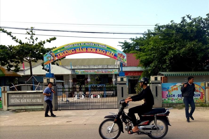 Trường Mầm non Sao Mai (thị trấn La Hà, huyện Tư Nghĩa) - nơi xảy ra vụ việc gây xôn xao dư luận. Ảnh:TH