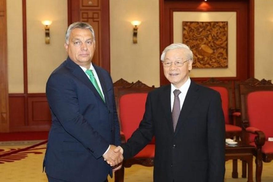 Tổng Bí thư Nguyễn Phú Trọng tiếp Thủ tướng Hungary Viktor Orban thăm chính thức Việt Nam tháng 9.2017. Ảnh: TTXVN