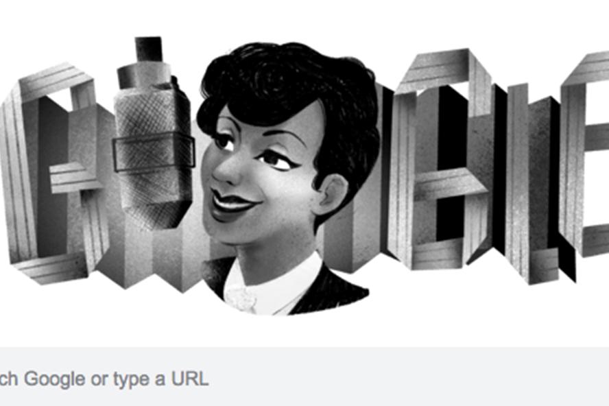 Hình ảnh của nữ ca sĩ Evelyn Dove xuất hiện trên Google Doodle hôm nay.