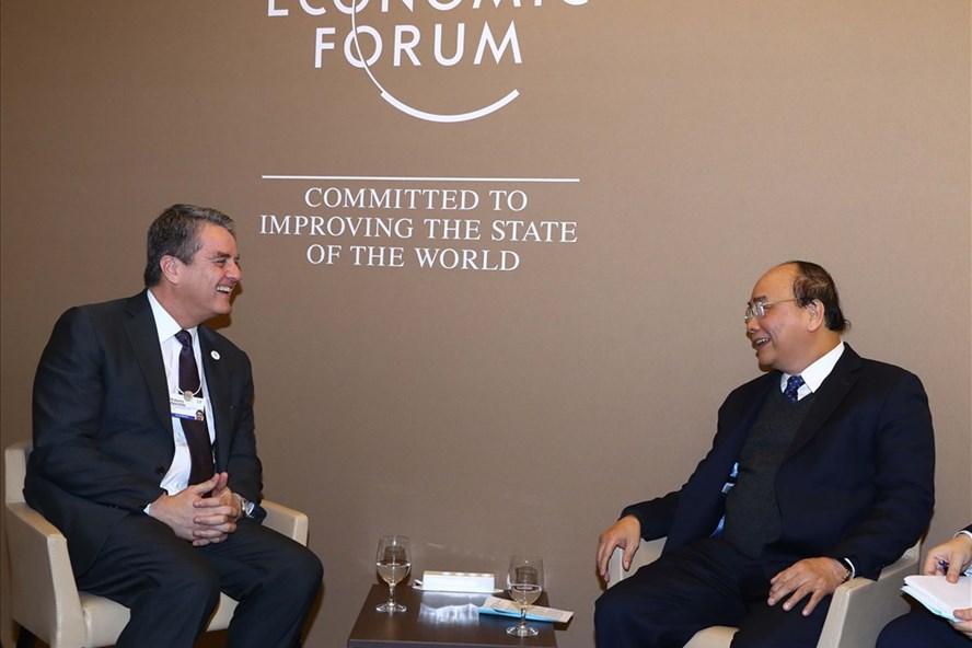 Thủ tướng Nguyễn Xuân Phúc tiếp Tổng Giám đốc WTO Roberto Azevêdo. Ảnh: TTXVN
