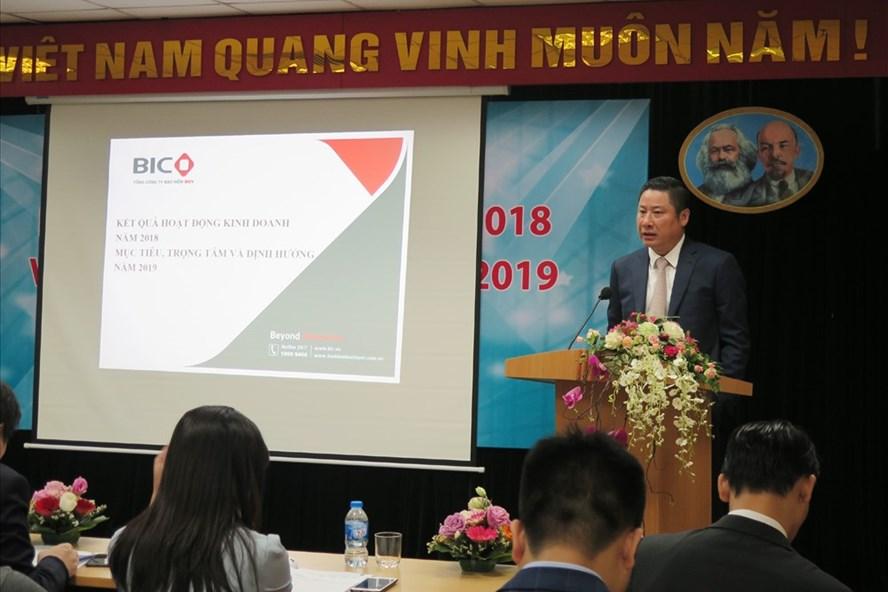 Ông Trần Hoài An - Tổng Giám đốc BIC báo cáo Hội nghị về kết quả kinh doanh của BIC năm 2018. Ảnh: P.V