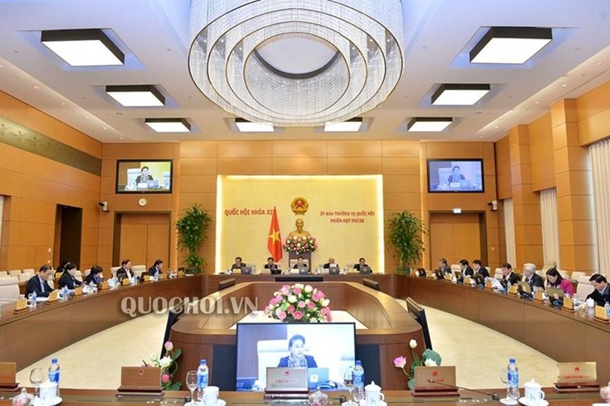 Phiên họp thứ 29 của Ủy ban Thường vụ Quốc hội. Ảnh: QH.