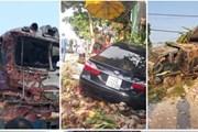 Giao thông 24h: Xe Camry gây tai nạn liên hoàn, đâm vào nhà dân