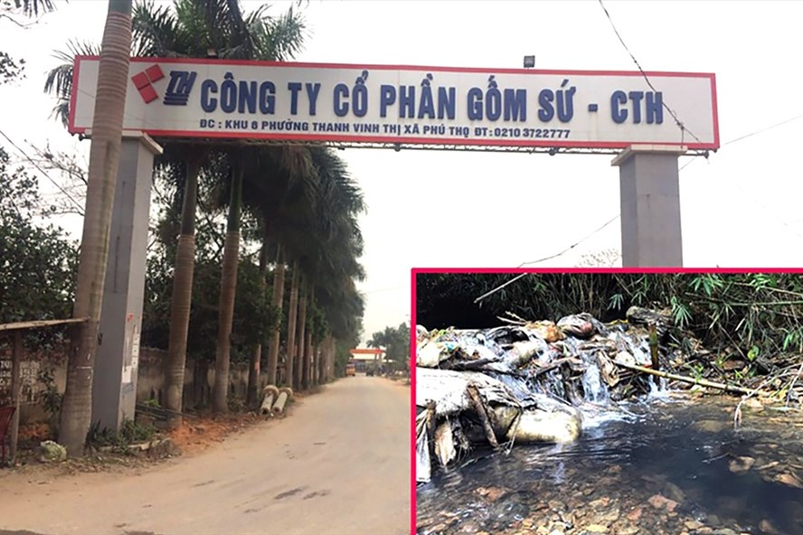 Nước sạch Sông Đà nhiễm dầu (ảnh nhỏ) từ nguồn thải của Công ty Cổ phần Gốm sứ Thanh Hà.