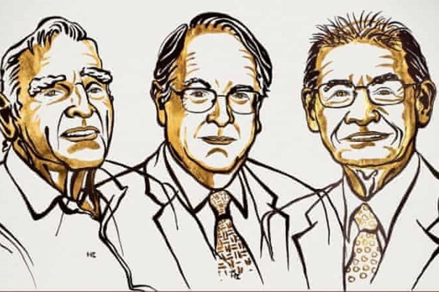 Từ trái qua phải John B Goodenough, M Stanley Whmitham và Akira Yoshino. Ảnh: Viện Hàn lâm Khoa học Hoàng gia Thụy Điển.